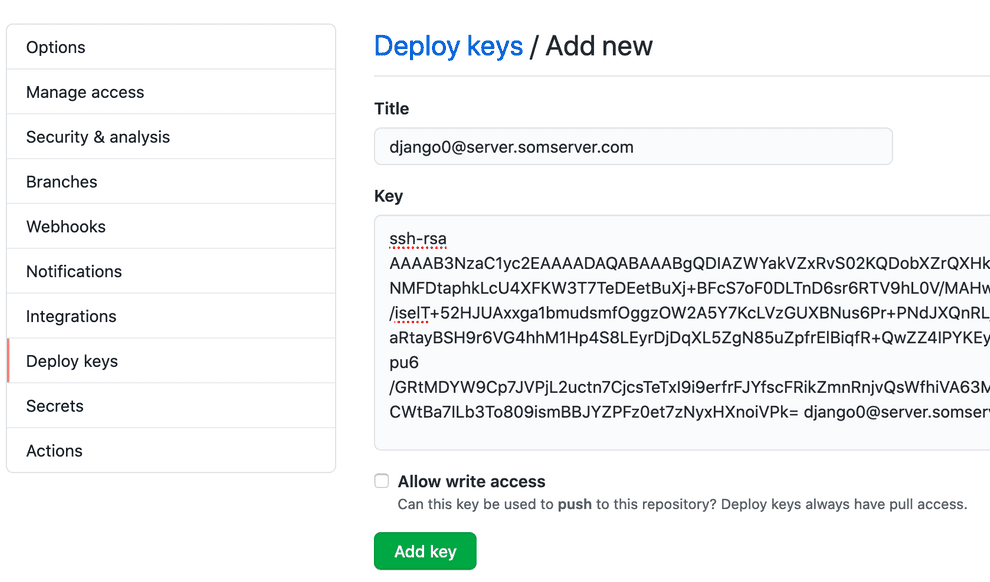 Authorize the key for deploy